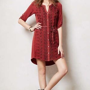 Anthropologie Tiny Embroidered Shirt Dress